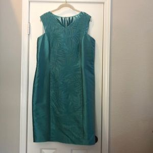 Lafayette 148 green silk cocktail dress size 14